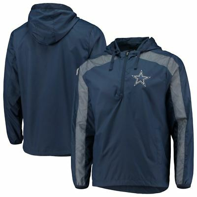 Dallas Cowboys Mens Jackets - Dallas Cowboys Men's Mesh Insert 1/4 Zip Hooded Jacket - Navy