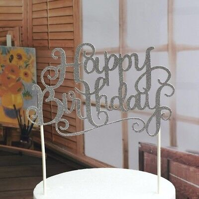Happy Birthday Party Cake Toppers Decoration for Kids Birthday Party Silver DL5](Cake Toppers Kids)