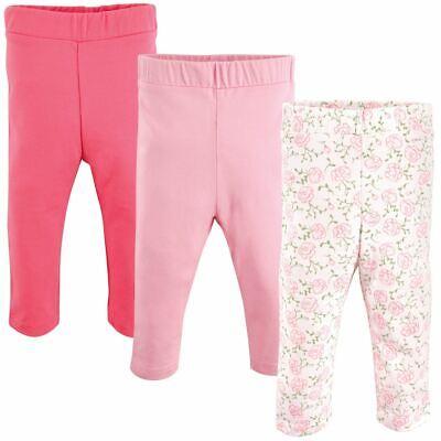 Luvable Friends Girl Toddler Leggings, 3-Pack, Pink Rose