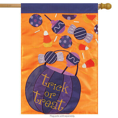 Halloween Candy Applique House Flag Embroidered 2 Sided Trick or Treat 29