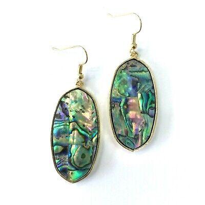Oval Shell Earrings - Simple Gold Tone Colored Abalone Shell Drop Dangle Oval Shape Hook Earrings