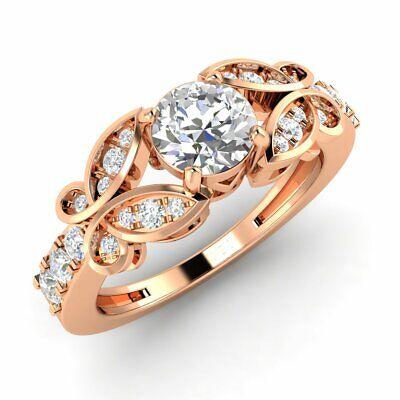 Certified 0.85 Carat Natural Diamond Vintage Engagement Ring in 10k Rose Gold