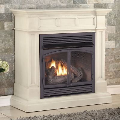 Duluth Forge Dual Fuel Ventless Gas Fireplace - 32,000 BTU, Antique White Finish White Gas Fireplace