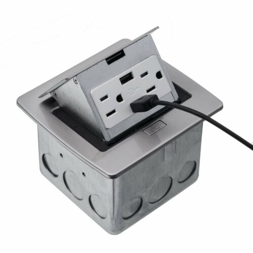 Lew Electrics (PUFP-CT-SS-2USB) Stainless Steel Pop Up Counter Top Box -NEW