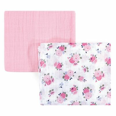 Luvable Friends Girl Muslin Swaddle Blankets, 2-Pack, Floral