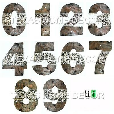 - Western House Address Numbers Rustic Silver Floral Design Home Decor Large 9 ¾""