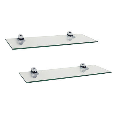 DANY-WL4015C-Set of 2 Clear Glass Floating Shelves with Chrome Brackets 16 x 6