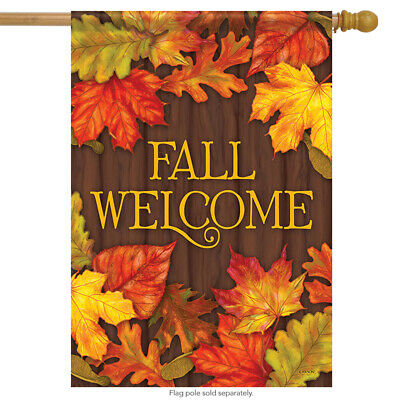 "Lovely Leaves Fall House Flag Autumn Welcome Primitive Double Sided 28"" x 40"""