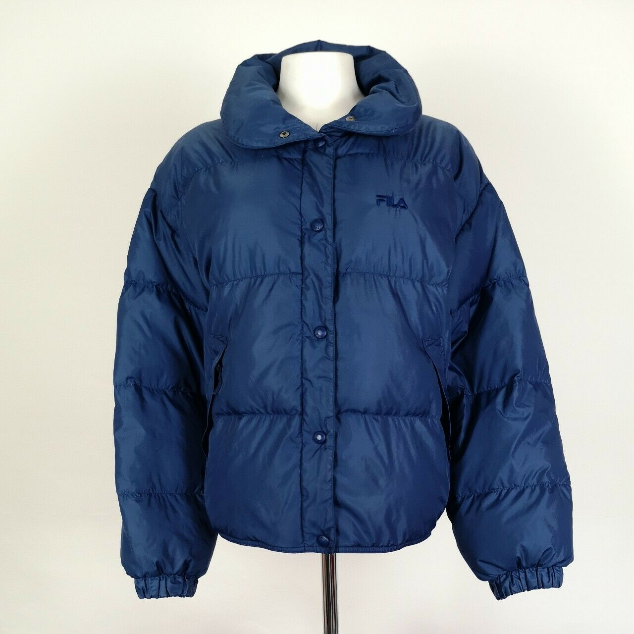 Details about Women's Vintage Fila Magic Line Puffer Jacket With Down Filling Blue Size UK 16