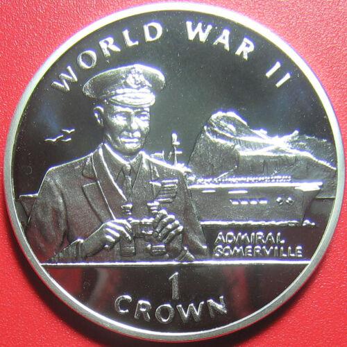 1994 GIBRALTAR 1 CROWN SILVER PROOF ADMIRAL SOMERVILLE BRITISH NAVY WARSHIP WWII