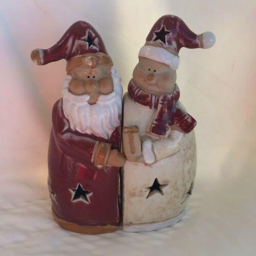 Santa Snowman Ceramic Christmas votive tealight candle table decor stars gift