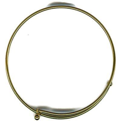 Lot of 25 14KT Gold EP Expandable Charm Wire Bangle Bracelet Adjustable