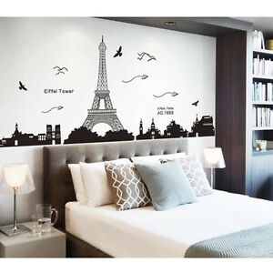 Bedroom Home Decor Removable Paris Eiffel Tower Art Decal Wall Sticker  Mural DJ8