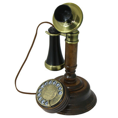 Opis 1921 Cable C - Retro Holztelefon mit Wählscheibe + Metallklingel