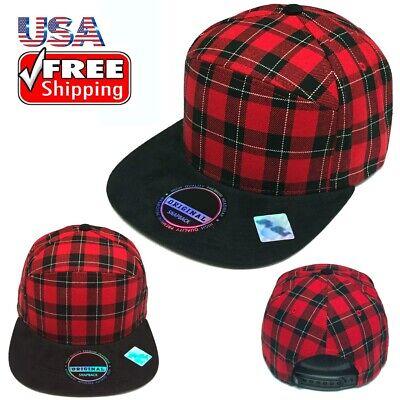 Plaid Checker Suede Snapback Cap Adjustable Baseball Cap FlatBill Hat Red Black ()