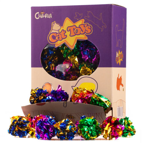 "24 Pack 1.6"" Mylar Blinking Crinkle Cat Toys Balls Light Kitten Interactive Play"