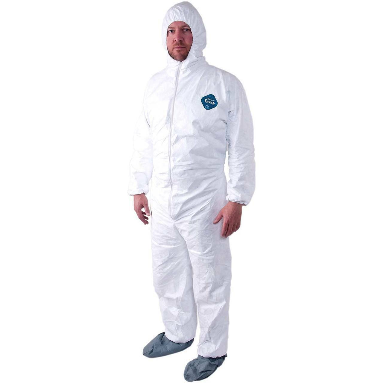 Dupont TY122S White Tyvek Disposabl Coverall Bunny Suit Hood & Boots Size M-5XL Clothing, Shoes & Accessories