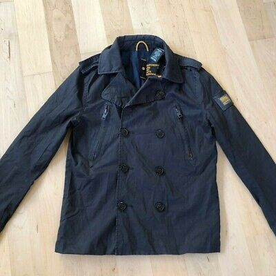 EUC Superdry Mens Trench Coat Mid Length Light Weight Jacket Size Small