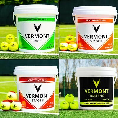 Vermont Mini Tennis Balls | Stage 1/2/3 Tennis Ball | Red/Orange/Green - Buckets