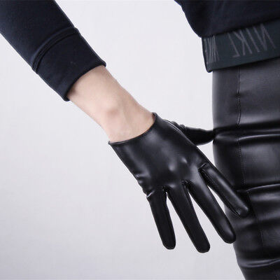 TECH GLOVES Extra Short Faux Leather Black Cosplay Driving Touchscreen Sensitive - Black Short Gloves