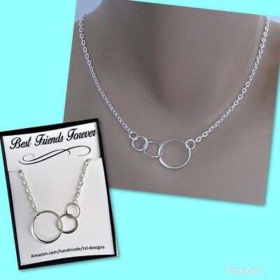 Best Friends Forever, Three Eternity Circles, Sterling Silver Necklace 3 (Best Infinity Friends Circle Necklaces)