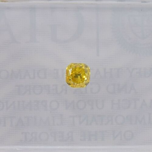 0.15Cts Fancy Vivid Orangy Yellow Loose Diamond Natural Color Cushion Cut GIA