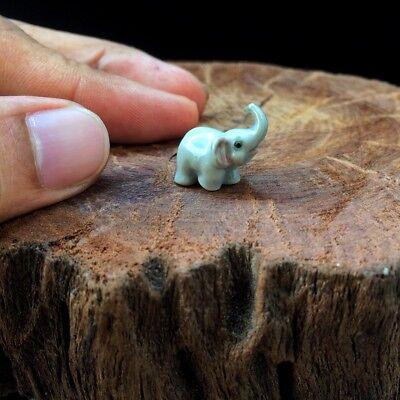 (New Tiny Elephant Dollhouse Miniature Ceramic Mini Figurine Hand Painted Cute)