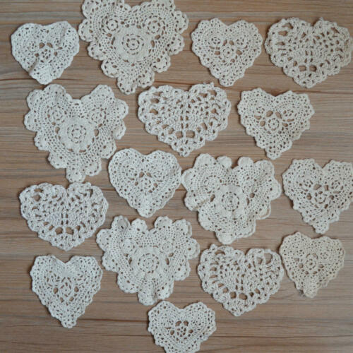 Lot 16 Vintage Hand Crochet Small Ivory Heart Doilies