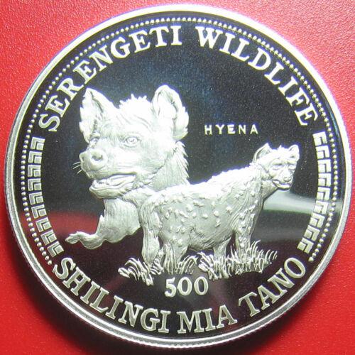 1998 TANZANIA 500 SHILINGI 1oz SILVER PROOF HYENA SERENGETI WILDLIFE RARE COIN