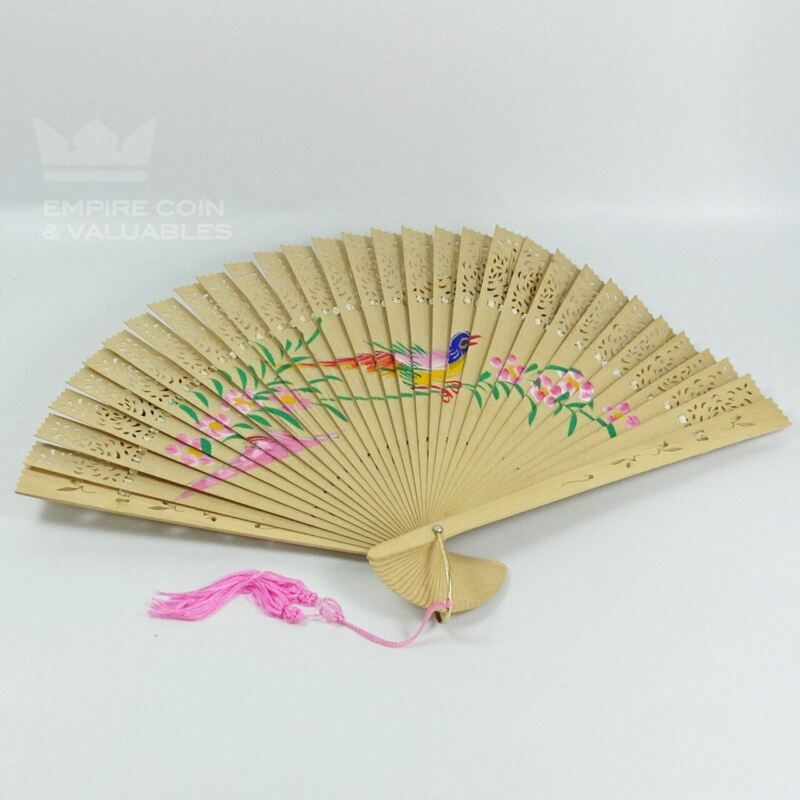 Vintage Wooden Carved Hand Painted Geisha Folding Fan with Bird Flowers