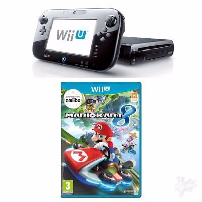 Nintendo Wii U -32 GB Black Console + Mario Kart 8 Bundle Same Day Dispatch Free