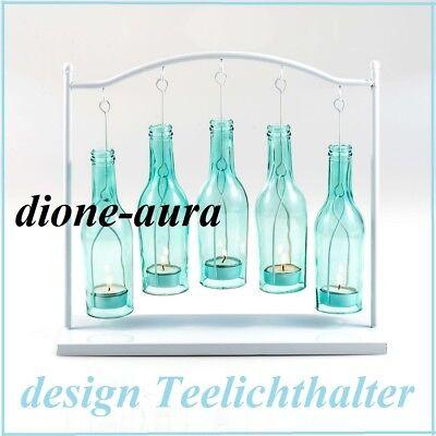 Design Teelichthalter mit fünf Flaschen Gestell aus Metall in Weiß Neu & OVP ()