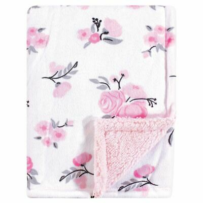 Hudson Baby Girl Mink Blanket with Sherpa Backing, Floral
