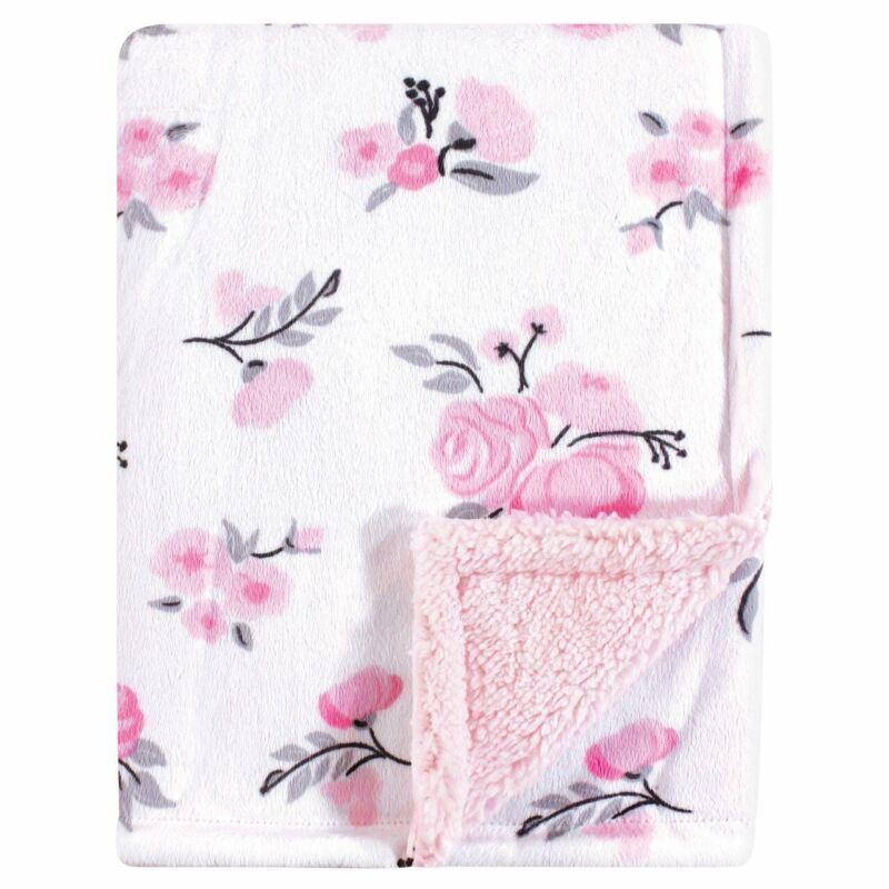 Hudson Baby Girl Mink Blanket with Sherpa Backing, Floral