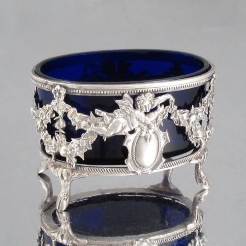 Antique French Sterling Silver Salt Cellar, Angels, Garlands Roses Fruits, Blue