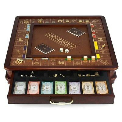 Monopoly Luxury Wooden Edition with Wood Game Board New Premium Collectible