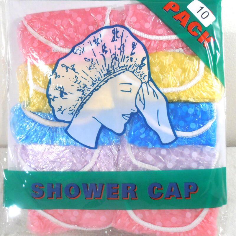 SHOWER BATH CAPS 10 SHOWER CAPS (ONE PACK)  ADULT
