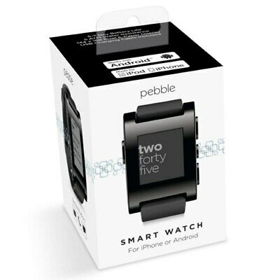 Pebble Smart Watch for iPhone or Android, Black Color, Model 301BL - New