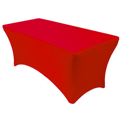Stretch Spandex Fitted 6 Ft Rectangular Table Cover Red,