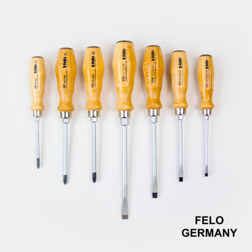 Felo 7 PC Slotted, Phillips and Pozidriv Wooden Handle Screwdriver Set - Germany