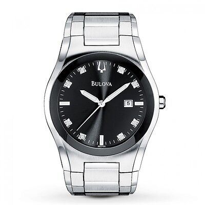 Bulova Diamond Black Dial - Bulova Men's Diamond Accents Quartz Black Dial Silver Tone Watch 96D104