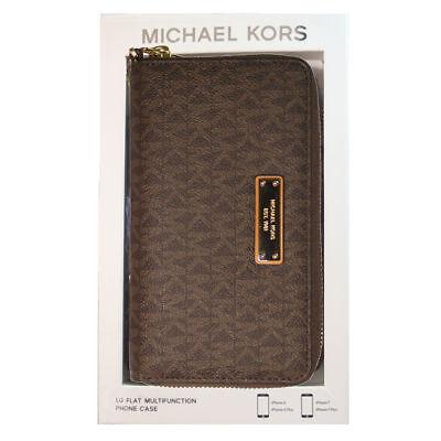 Michael Kors Leather Wristlet Large Multifunction Wallet Phone Case MK Brown