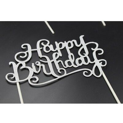 Happy Birthday Party Cake Toppers Decoration for Kids Birthday Party Silver NP2