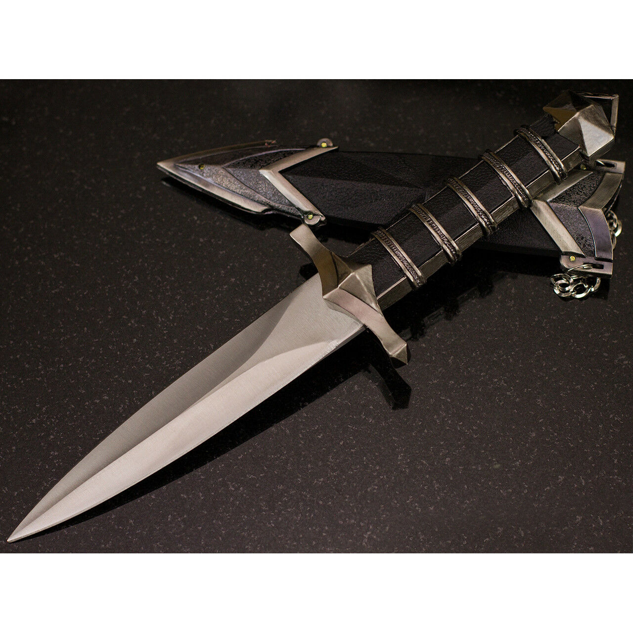 "11.5"" DARK ASSASSIN STAINLESS STEEL MEDIEVAL SHORT SWORD DAGGER w/ SHEATH"