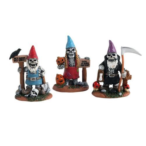 Lemax Halloween ~ Skeleton Garden Gnomes~ Spooky Town Figurine