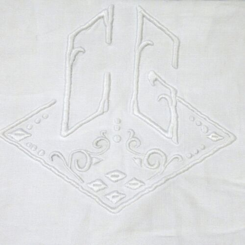 """AntiqueFrench Sheet, Large, Monogrammed """"C.G."""", 130 x 92 1/16 Inches"""