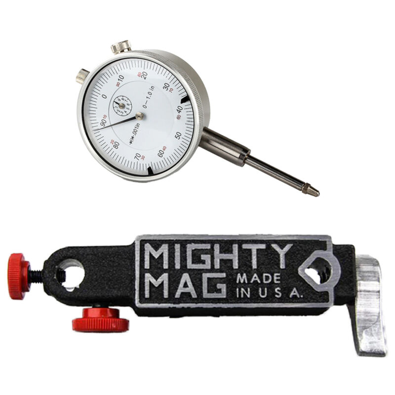 """Mighty Mag 400-3 Magnetic Base with Release Lever & 1"""" Dial Indicator Set"""