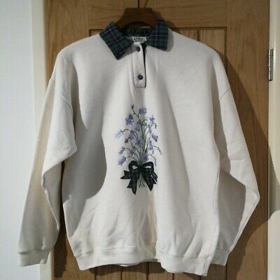 Ladies Acorn Leisure Collared Jumper Sweatshirt Tartan Vintage Retro S/M 10-12