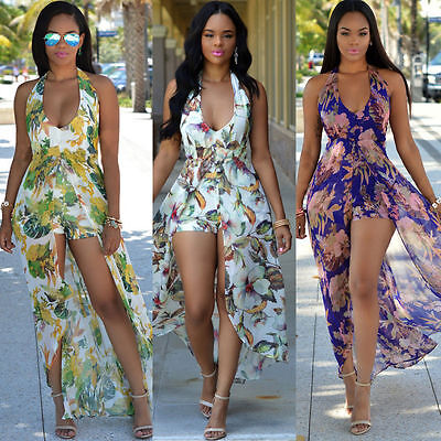Sexy Women Chiffon Jumpsuit Romper Short Trouser Bodycon Clubwear Playsuit Dress