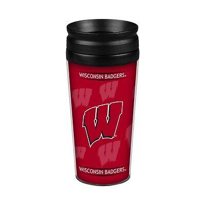 Wisconsin Badgers 14oz Full Wrap Travel Mug [NEW] Tumbler Coffee Cup -